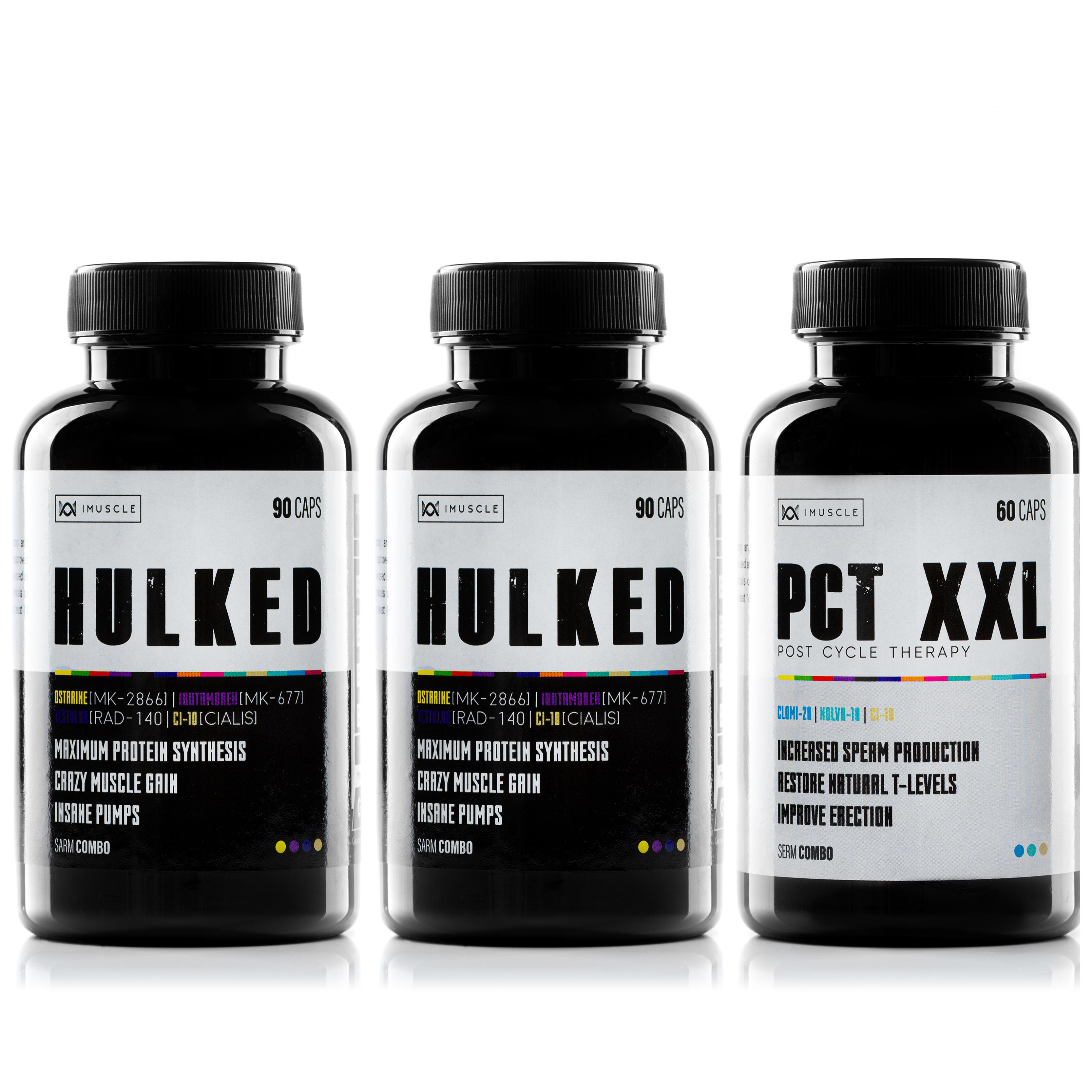 imuscle stack combo hulked x2 , pct xxl